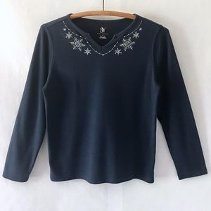 Studio Works Navy Silver Embroidery L/S Tee Top